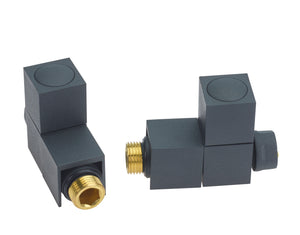 SQUARE STRAIGHT ANTHRACITE TOWEL RAIL VALVES