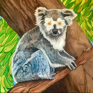 "Save the Koalas 8"" x 10"" Flower Power Koala color Print signed by artist Jeff Gould"
