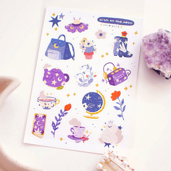 Wish on the Moon - Vinyl sticker sheet