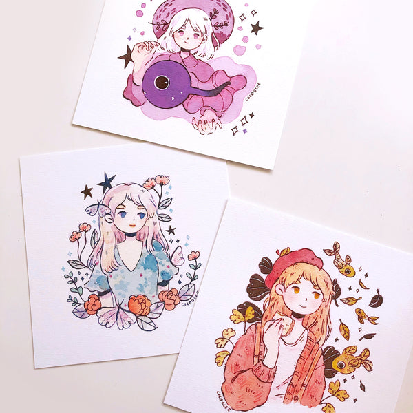 Square prints set - Tadpole, Butterfly & Autumn