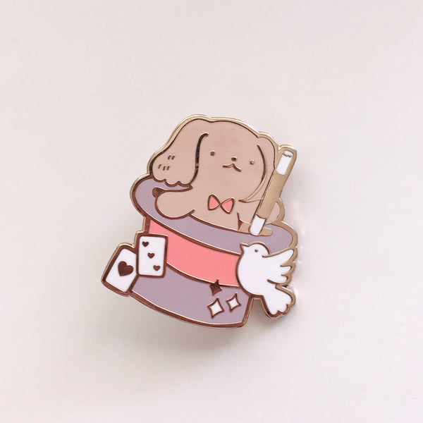 Rose Magician Puppy - Hard Enamel Pin