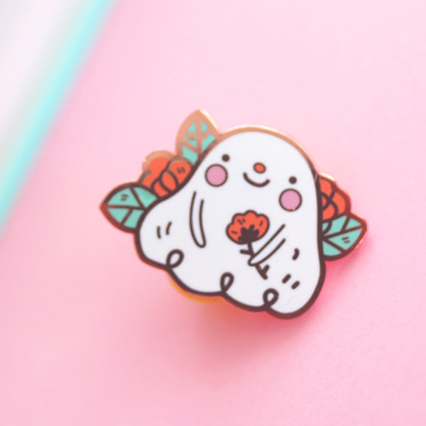 Shy Ghostie - Rose gold hard enamel pin