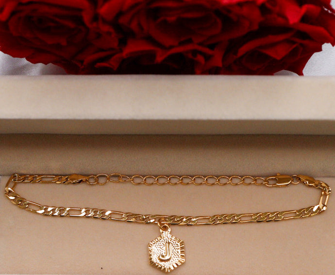 Gold-plated initial anklet