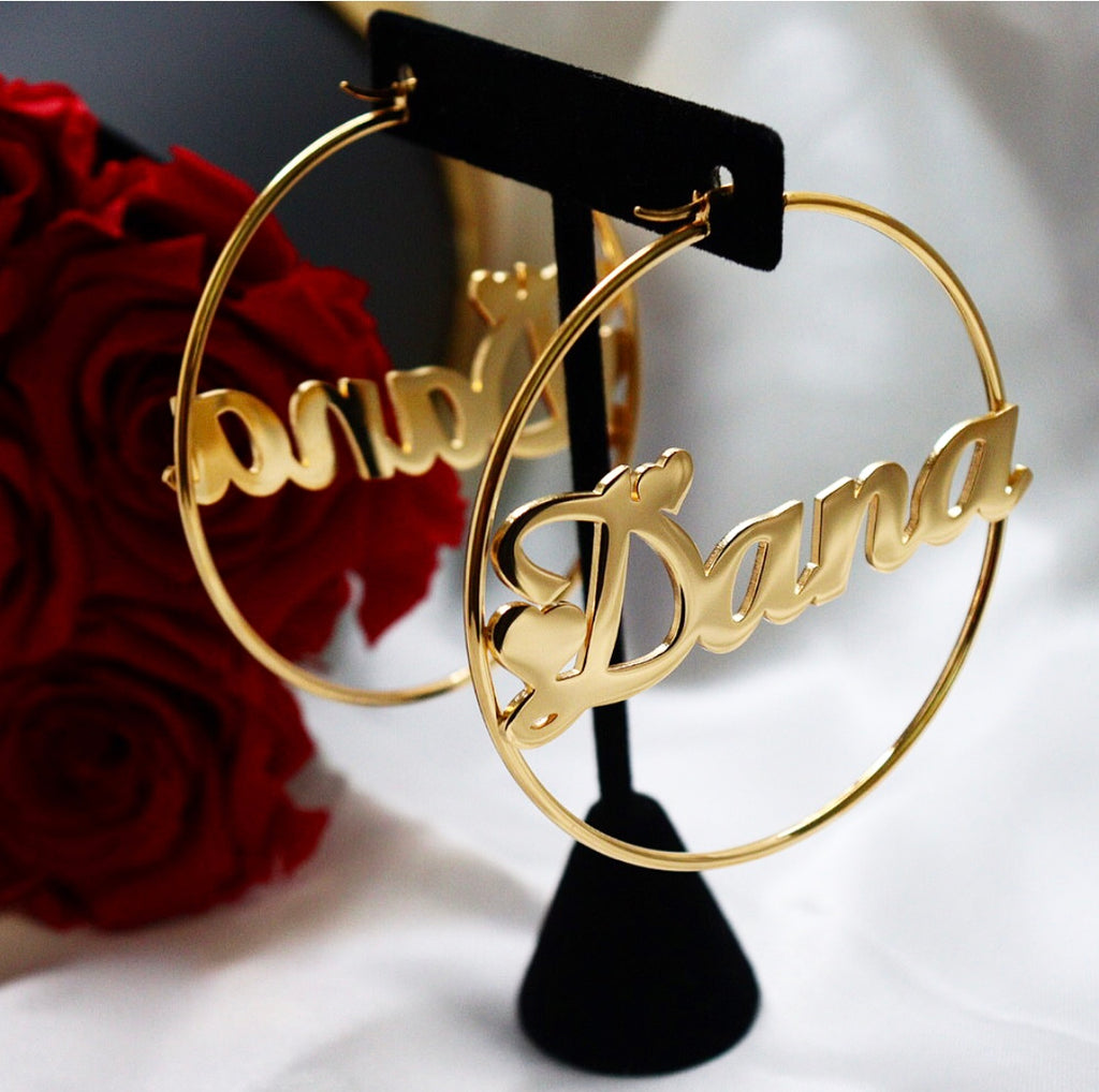 Custom 18K gold-plated hoop earrings