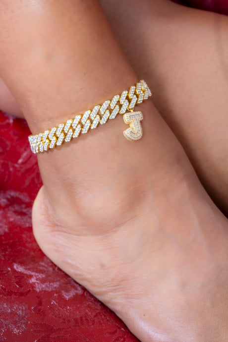 Miami Cuban link initial anklet