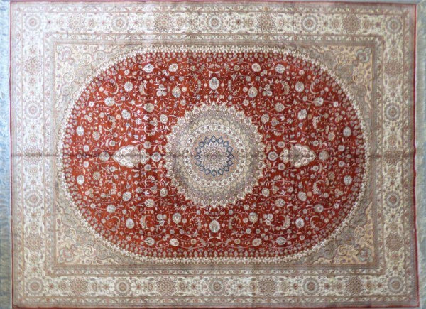 "Amazing Turkish Silk Oriental Hand-Knotted Traditional Area Rug with Finest Quality and Design  12'0"" X 9'0"" ABCTKS-11"