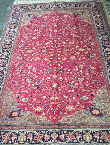 "Authentic Hand Knotted Turkish Rugs Collection Traditional Hand-Knotted Pattern Oriental Wool Area Rug  6'6""  X  9'6"" ABCRT-TK054"