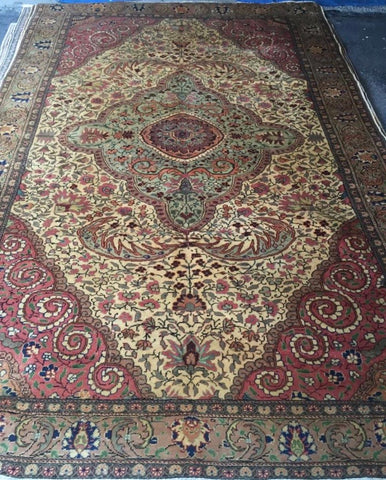 "Authentic Hand Knotted Turkish Rugs Collection Traditional Hand-Knotted Pattern Oriental Wool Area Rug  6'6""  X  9'6"" ABCRT-TK057"