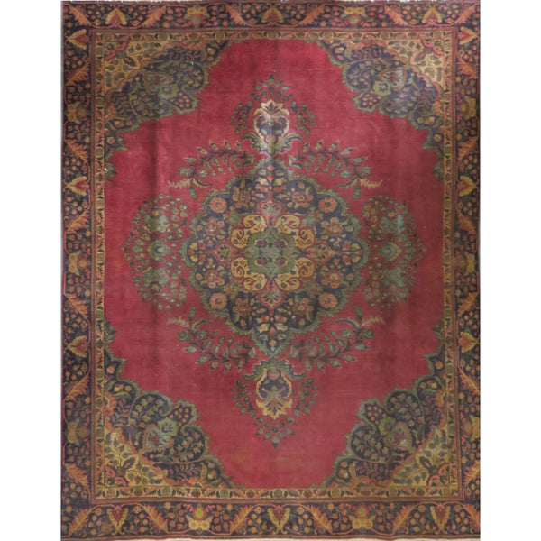 "Persian tabriz Authentic Hand-Knotted Traditonal Vintage Persian Rugs Natural Wool and Cotton Multicolor Area Rug  11'8"" X 9'3"" ABC-PER-202"