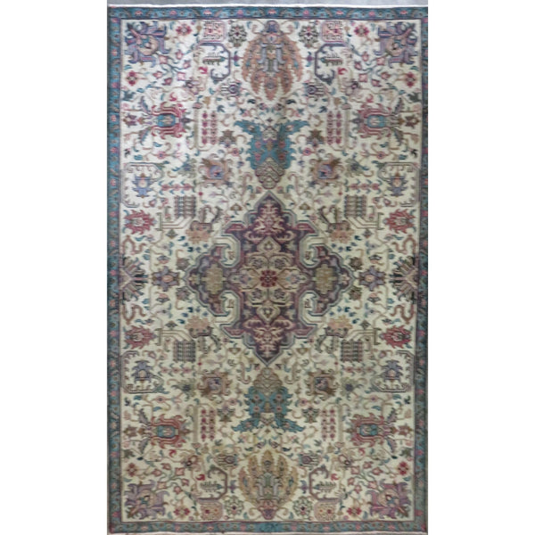 "Persian mashhad Authentic Hand-Knotted Traditonal Vintage Persian Rugs Natural Wool and Cotton Multicolor Area Rug  4'8"" X 4'6"" ABC-PER-275"