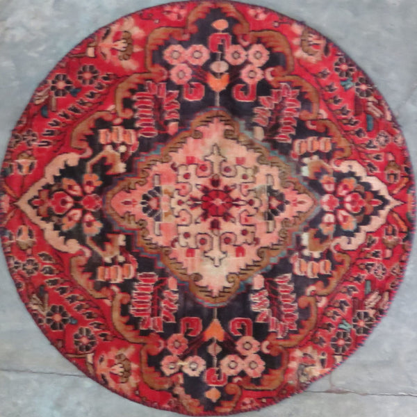 "Persian hamedan Authentic Hand-Knotted Traditonal Vintage Persian Rugs Natural Wool and Cotton Multicolor Area Rug  3'6"" X 3'6"" ABC-PER-291"