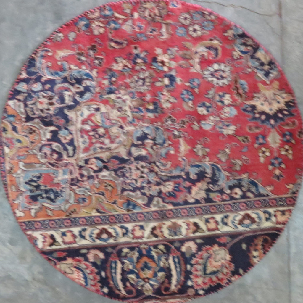 "Persian mashhad Authentic Hand-Knotted Traditonal Vintage Persian Rugs Natural Wool and Cotton Multicolor Area Rug  3'6"" X 3'6"" ABC-PER-314"