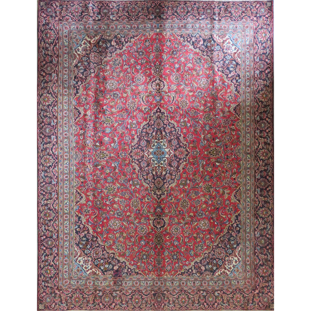 "Persian mashhad Authentic Hand-Knotted Traditonal Vintage Persian Rugs Natural Wool and Cotton Multicolor Area Rug  11'3"" X 8'7"" ABC-PER-324"