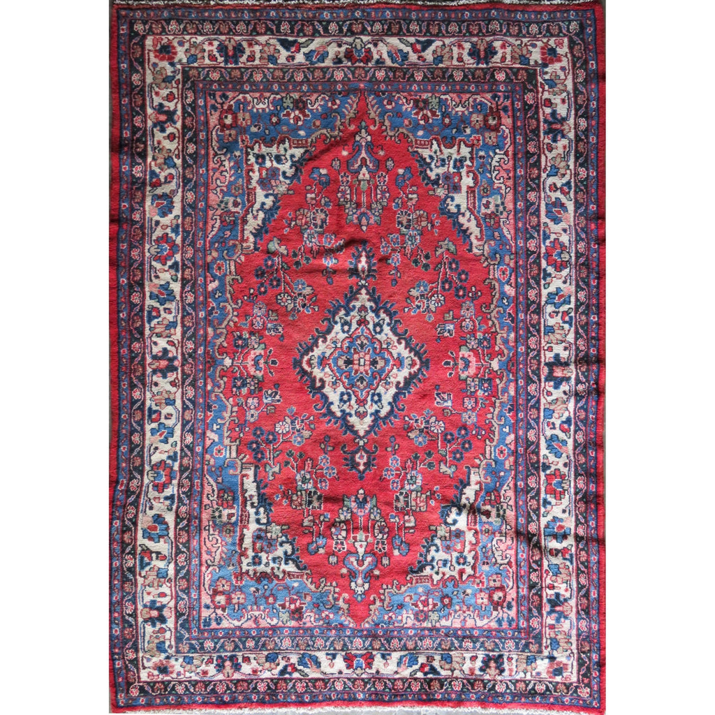 "Persian hamedan Authentic Hand-Knotted Traditonal Vintage Persian Rugs Natural Wool and Cotton Multicolor Area Rug  9'6"" X 6'7"" ABC-PER-363"