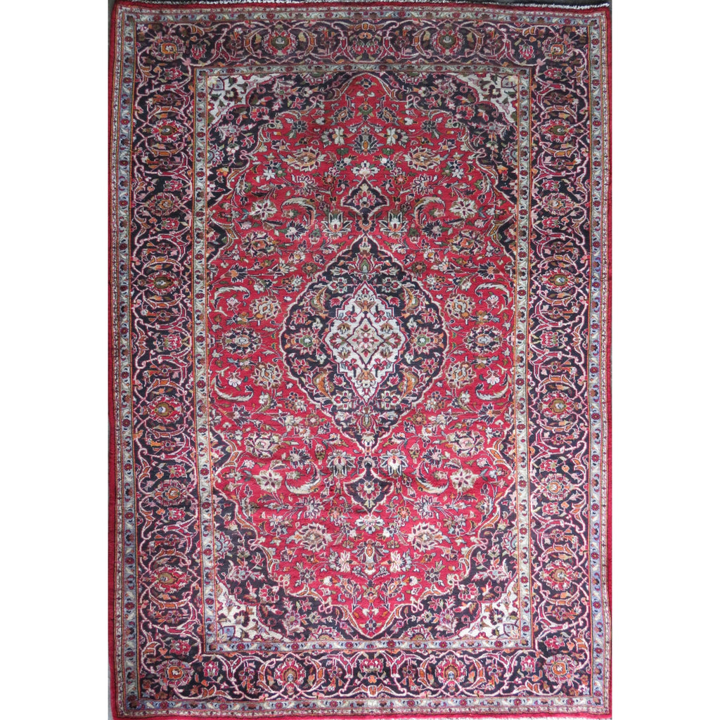"Persian mashhad Authentic Hand-Knotted Traditonal Vintage Persian Rugs Natural Wool and Cotton Multicolor Area Rug  10'10"" X 6'9"" ABC-PER-374"