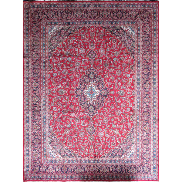"Persian mashhad Authentic Hand-Knotted Traditonal Vintage Persian Rugs Natural Wool and Cotton Multicolor Area Rug  12'9"" X 9'6"" ABC-PER-377"