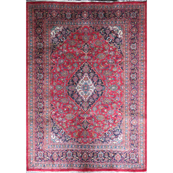 "Persian mashhad Authentic Hand-Knotted Traditonal Vintage Persian Rugs Natural Wool and Cotton Multicolor Area Rug   9'4"" X 6'5"" ABC-PER-378"