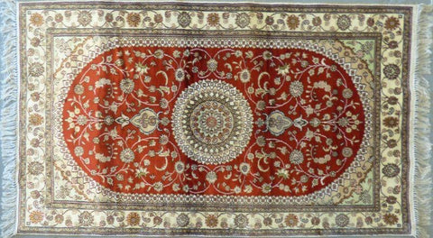 "Amazing Turkish Silk Oriental Hand-Knotted Traditional Area Rug with Finest Quality and Design  5'0"" X 3'0"" ABCTKS-3"