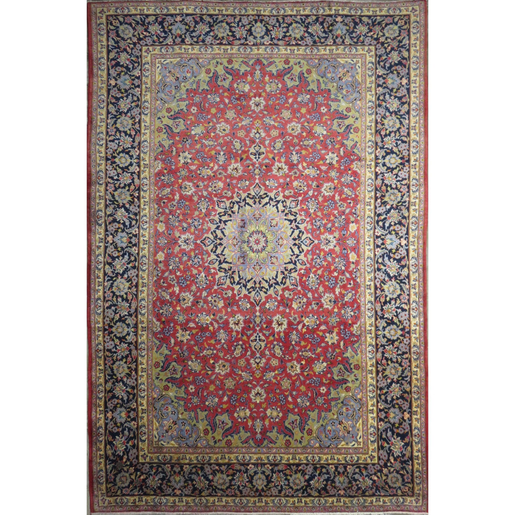 "Persian najafabad Authentic Hand-Knotted Traditonal Vintage Persian Rugs Natural Wool and Cotton Multicolor Area Rug  11'5"" X 7'6"" ABC-PER-408"