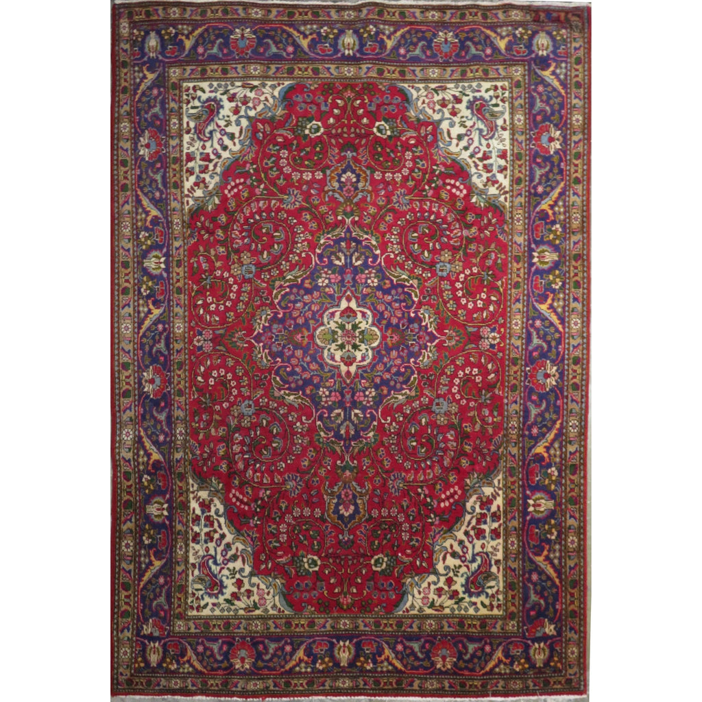 "Persian tabriz Authentic Hand-Knotted Traditonal Vintage Persian Rugs Natural Wool and Cotton Multicolor Area Rug  10'2"" X 6'8"" ABC-PER-409"