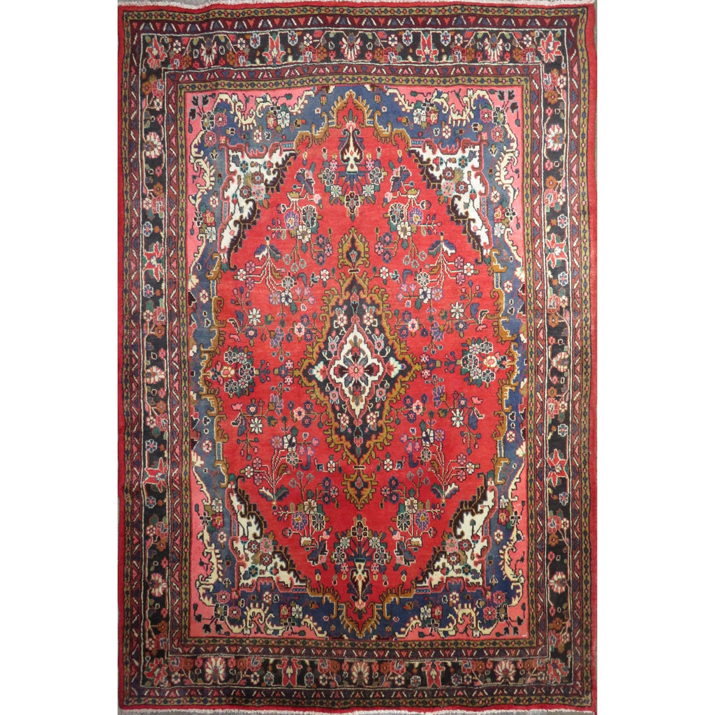 "Persian hamedan Authentic Hand-Knotted Traditonal Vintage Persian Rugs Natural Wool and Cotton Multicolor Area Rug  10'5"" X 7'0"" ABC-PER-415"