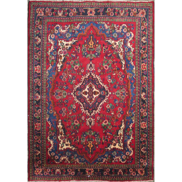 "Persian hamedan Authentic Hand-Knotted Traditonal Vintage Persian Rugs Natural Wool and Cotton Multicolor Area Rug  9'8"" X 6'8"" ABC-PER-427"