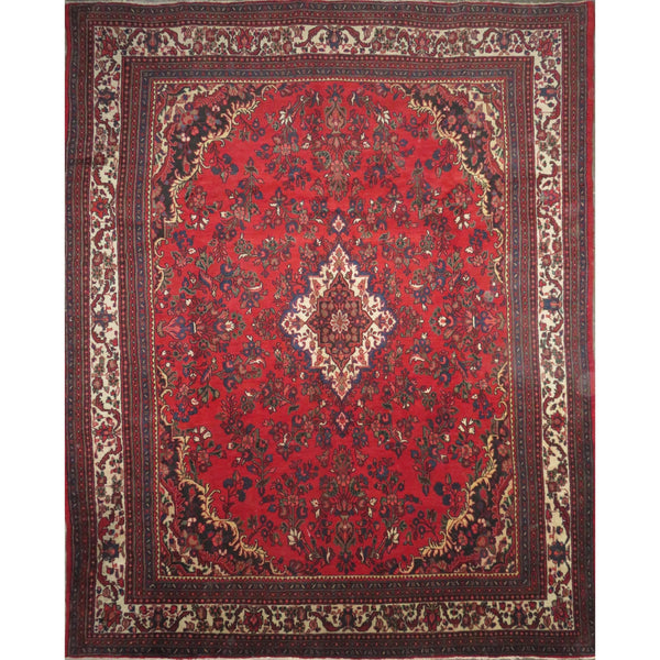 "Persian hamedan Authentic Hand-Knotted Traditonal Vintage Persian Rugs Natural Wool and Cotton Multicolor Area Rug  12'6"" X 10'2"" ABC-PER-455"