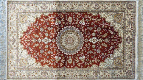"Amazing Turkish Silk Oriental Hand-Knotted Traditional Area Rug with Finest Quality and Design  5'0"" X 3'0"" ABCTKS-4"