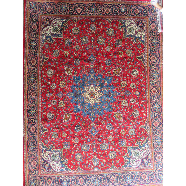 "Persian arak Authentic Hand-Knotted Traditonal Vintage Persian Rugs Natural Wool and Cotton Multicolor Area Rug  13'5"" X 9'8"" ABC-PER-545"