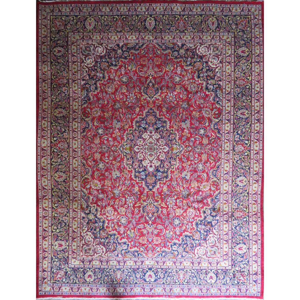 "Persian mashhad Authentic Hand-Knotted Traditonal Vintage Persian Rugs Natural Wool and Cotton Multicolor Area Rug  12'6"" X 9'8"" ABC-PER-554"