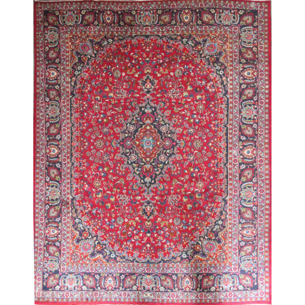 "Persian mashhad Authentic Hand-Knotted Traditonal Vintage Persian Rugs Natural Wool and Cotton Multicolor Area Rug  12'4"" X 9'6"" ABC-PER-559"
