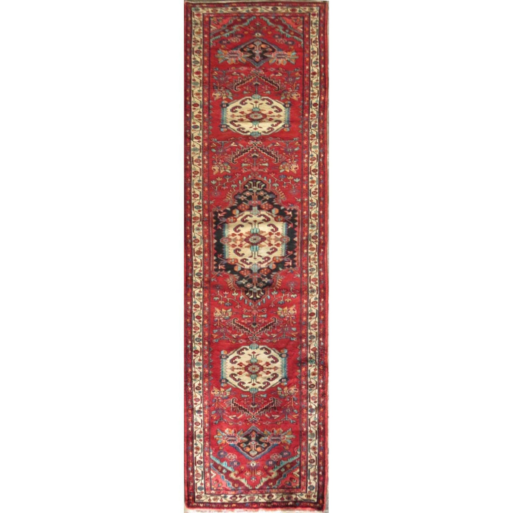 "Persian hamedan Authentic Hand-Knotted Traditonal Vintage Persian Rugs Natural Wool and Cotton Multicolor Area Rug  13'1"" X 3'3"" ABC-PER-579"
