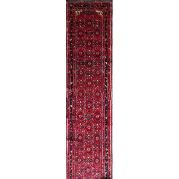 "Persian hamedan Authentic Hand-Knotted Traditonal Vintage Persian Rugs Natural Wool and Cotton Multicolor Area Rug  12'8"" X 2'10"" ABC-PER-582"