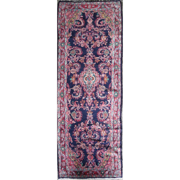 "Persian hamedan Authentic Hand-Knotted Traditonal Vintage Persian Rugs Natural Wool and Cotton Multicolor Area Rug  9'3' X 3'2"" ABC-PER-584"