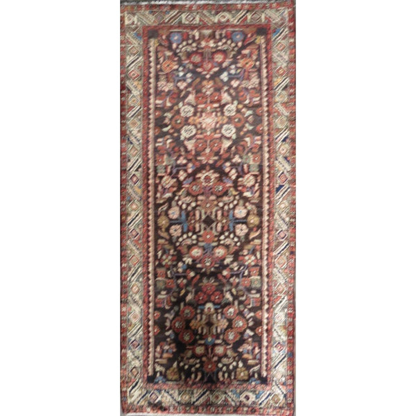 "Persian hamedan Authentic Hand-Knotted Traditonal Vintage Persian Rugs Natural Wool and Cotton Multicolor Area Rug  9'3' X 3'7"" ABC-PER-589"