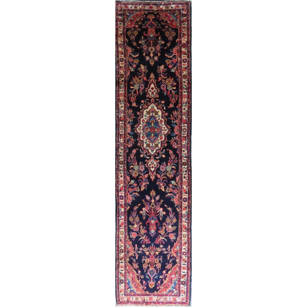 "Persian hamedan Authentic Hand-Knotted Traditonal Vintage Persian Rugs Natural Wool and Cotton Multicolor Area Rug  11'4"" X 2'6"" ABC-PER-590"