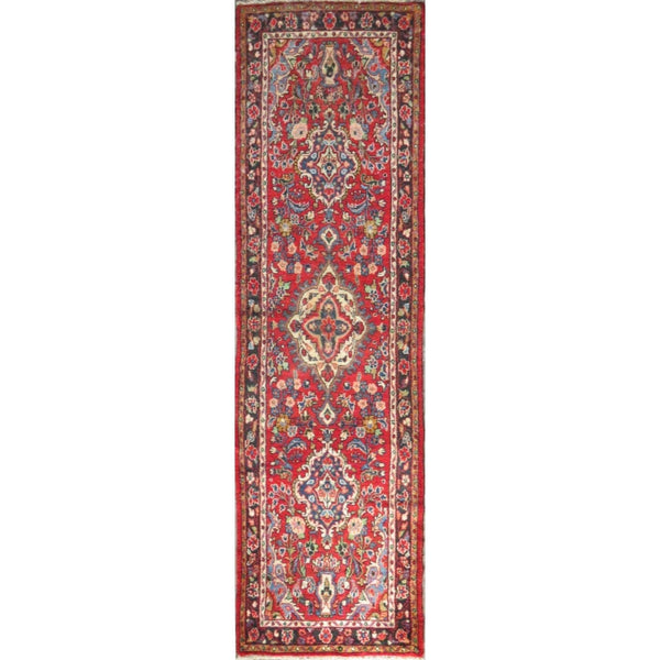 "Persian hamedan Authentic Hand-Knotted Traditonal Vintage Persian Rugs Natural Wool and Cotton Multicolor Area Rug  10'7"" X 2'10 ABC-PER-592"