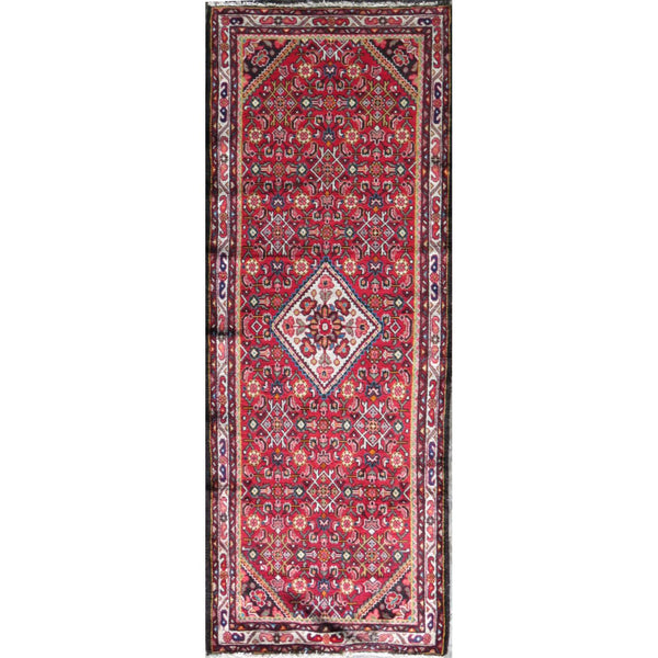 "Persian hamedan Authentic Hand-Knotted Traditonal Vintage Persian Rugs Natural Wool and Cotton Multicolor Area Rug  9'5"" X 3'4"" ABC-PER-595"
