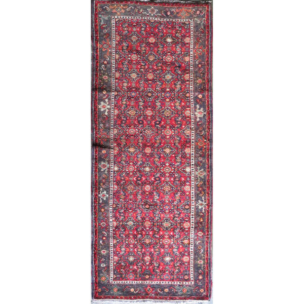 "Persian hamedan Authentic Hand-Knotted Traditonal Vintage Persian Rugs Natural Wool and Cotton Multicolor Area Rug  9'4"" X 3'5"" ABC-PER-606"