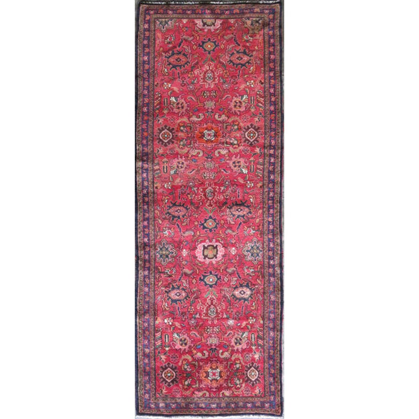 "Persian hamedan Authentic Hand-Knotted Traditonal Vintage Persian Rugs Natural Wool and Cotton Multicolor Area Rug  10'10"" X 3'3"" ABC-PER-609"