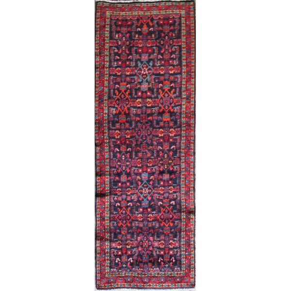 "Persian hamedan Authentic Hand-Knotted Traditonal Vintage Persian Rugs Natural Wool and Cotton Multicolor Area Rug  10'10"" X 3'3"" ABC-PER-610"
