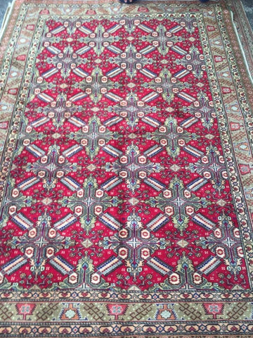 "Authentic Hand Knotted Turkish Rugs Collection Traditional Hand-Knotted Pattern Oriental Wool Area Rug  6'6""  X  9'6"" ABCRT-TK018"