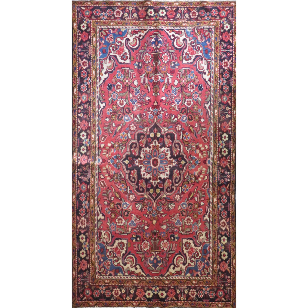 "Persian hamedan Authentic Hand-Knotted Traditonal Vintage Persian Rugs Natural Wool and Cotton Multicolor Area Rug  9'1"" X 4'10"" ABC-PER-86"