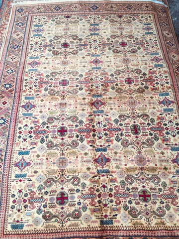 "Authentic Hand Knotted Turkish Rugs Collection Traditional Hand-Knotted Pattern Oriental Wool Area Rug   6'6""  X  9'6"" ABCRT-TK027"