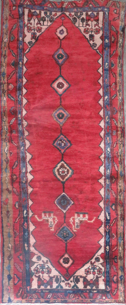 "Persian hamedan Authentic Hand-Knotted Traditonal Vintage Persian Rugs Natural Wool and Cotton Multicolor Area Rug  10'8"" X 3'9"" ABC-PER-2201"