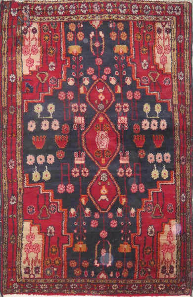"Persian hamedan Authentic Hand-Knotted Traditonal Vintage Persian Rugs Natural Wool and Cotton Multicolor Area Rug  5'8"" X 3'7"" ABC-PER-2211"