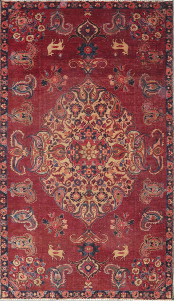 "Persian hamedan Authentic Hand-Knotted Traditonal Vintage Persian Rugs Natural Wool and Cotton Multicolor Area Rug  7'11"" X 4'10"" ABC-PER-2232"