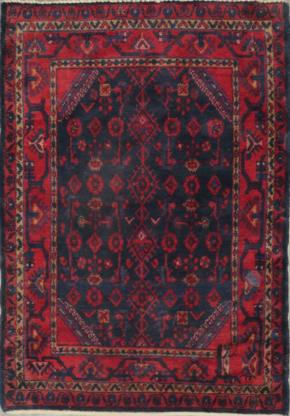 "Persian hamedan Authentic Hand-Knotted Traditonal Vintage Persian Rugs Natural Wool and Cotton Multicolor Area Rug  5'1"" X 3'5"" ABC-PER-2251"