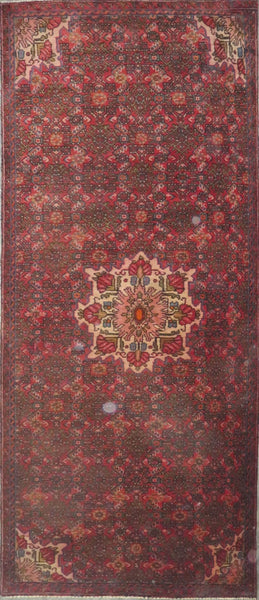 "Persian hamedan Authentic Hand-Knotted Traditonal Vintage Persian Rugs Natural Wool and Cotton Multicolor Area Rug  9'4"" X 3'0"" ABC-PER-2253"