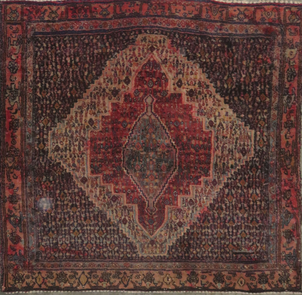 "Persian hamedan Authentic Hand-Knotted Traditonal Vintage Persian Rugs Natural Wool and Cotton Multicolor Area Rug  3'9"" X 3'7"" ABC-PER-2265"